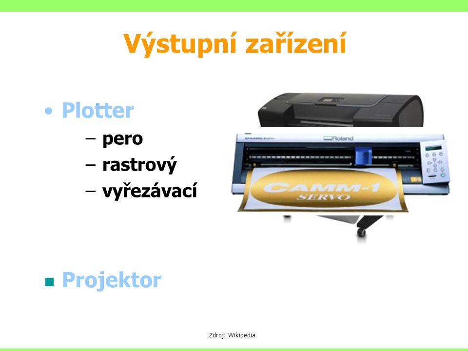 Výstupní zařízení Plotter Projektor pero (deskový resp. bubnový)