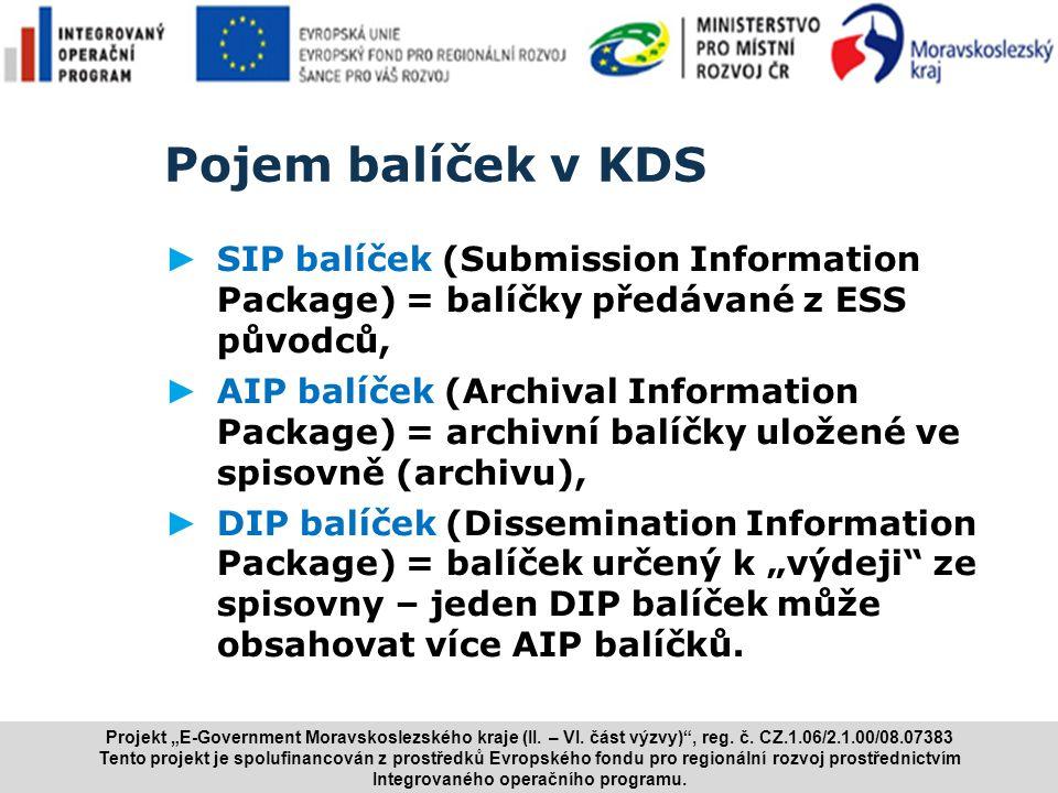 Pojem balíček v KDS SIP balíček (Submission Information Package) = balíčky předávané z ESS původců,