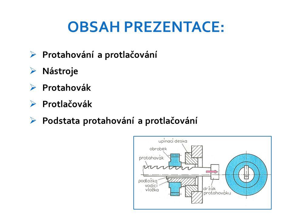 OBSAH PREZENTACE: Protahování a protlačování Nástroje Protahovák