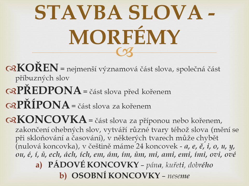 STAVBA SLOVA - MORFÉMY KOŘEN = nejmenší významová část slova, společná část příbuzných slov. PŘEDPONA = část slova před kořenem.