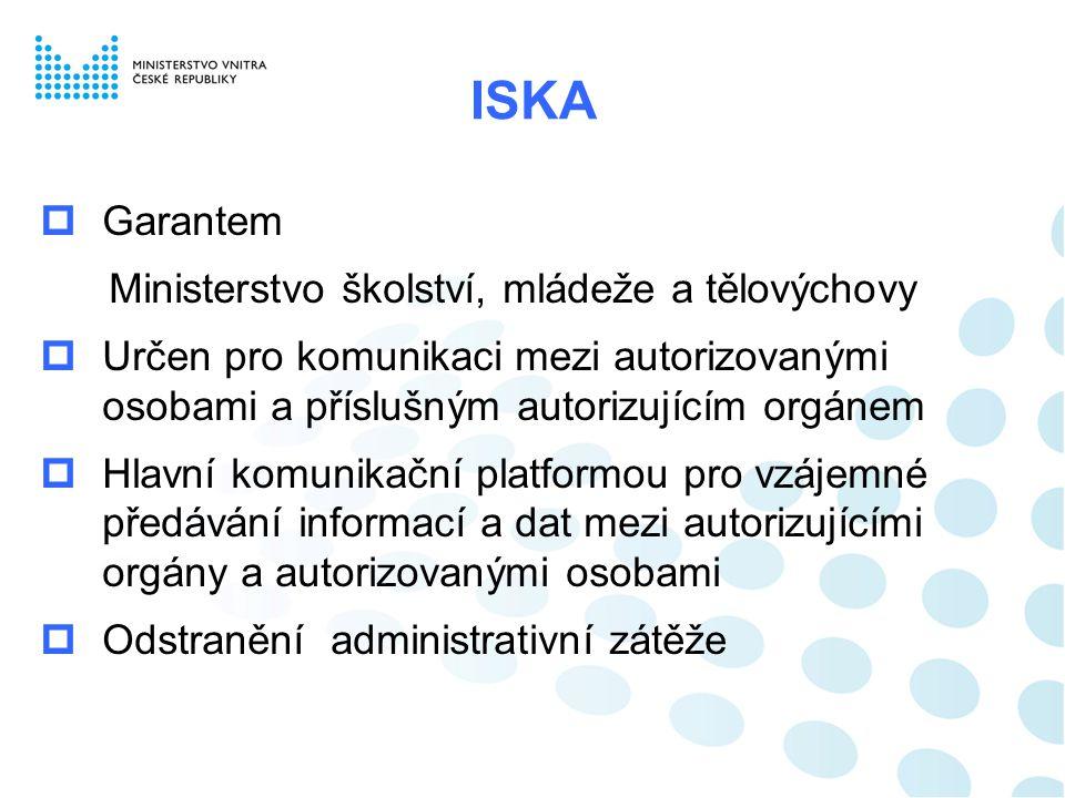 ISKA Garantem Ministerstvo školství, mládeže a tělovýchovy