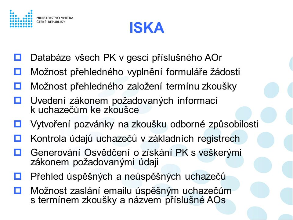 ISKA Databáze všech PK v gesci příslušného AOr