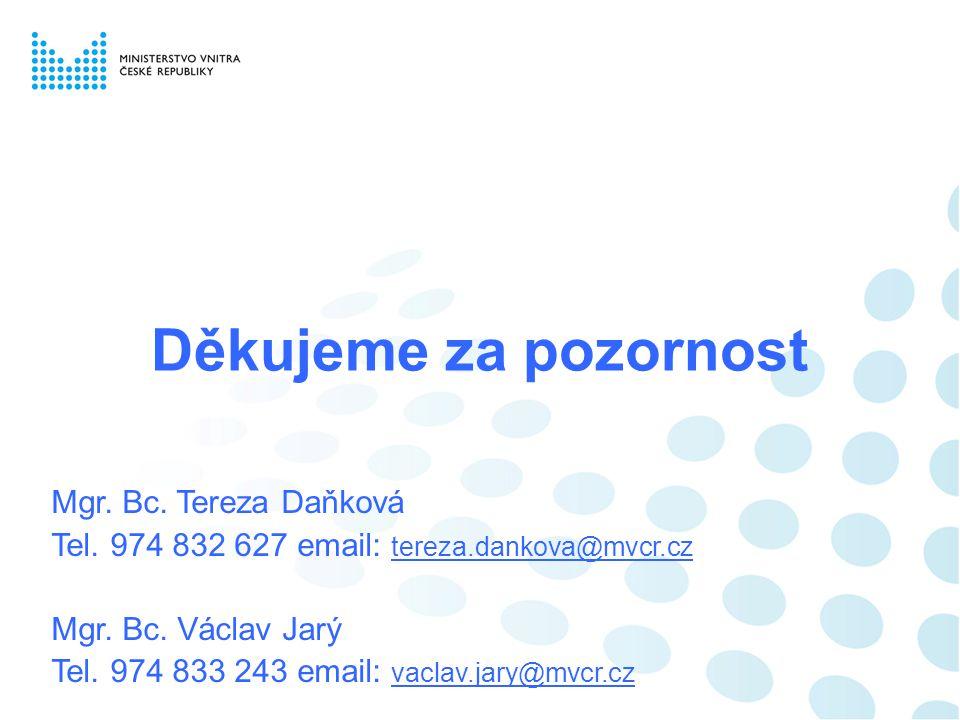Děkujeme za pozornost Mgr. Bc. Tereza Daňková
