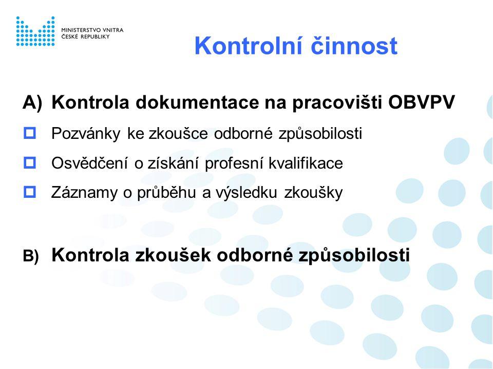 Kontrolní činnost Kontrola dokumentace na pracovišti OBVPV
