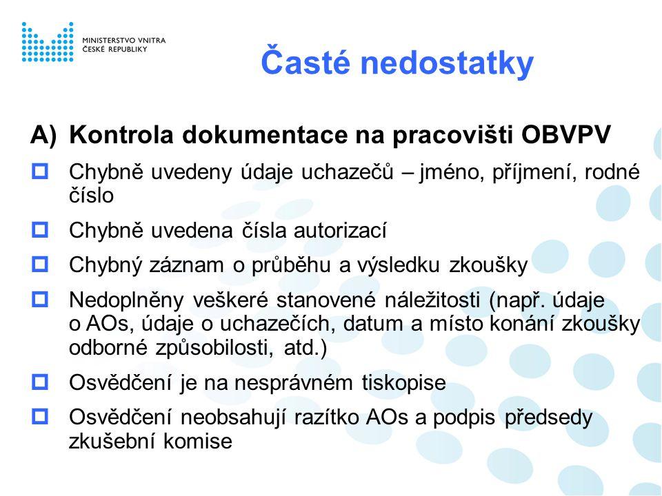 Časté nedostatky Kontrola dokumentace na pracovišti OBVPV
