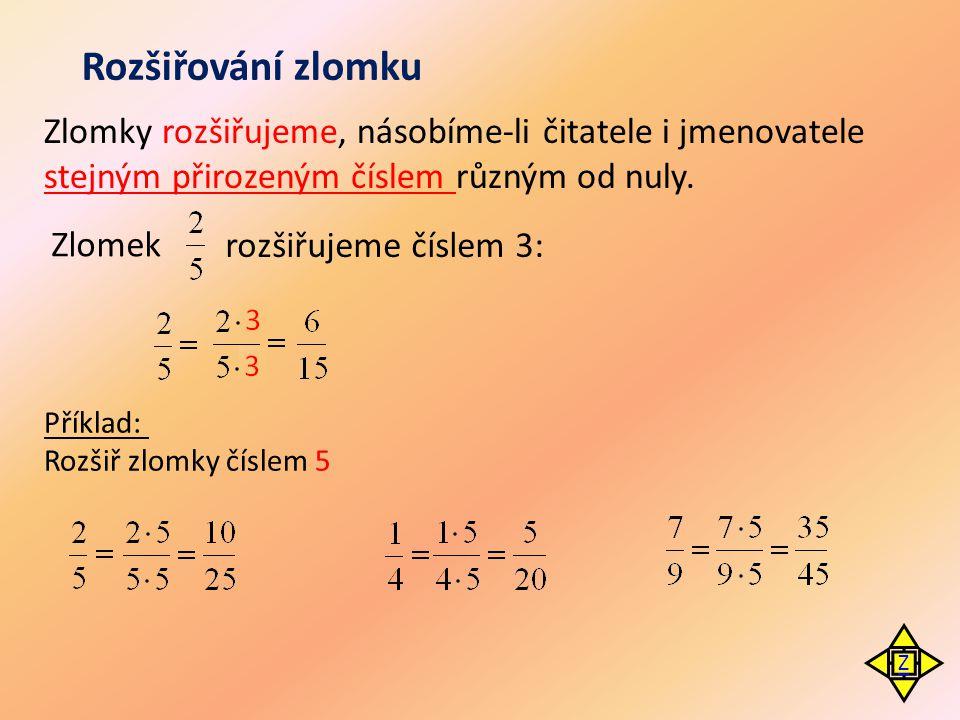 Rozšiřování zlomku Zlomky rozšiřujeme, násobíme-li čitatele i jmenovatele stejným přirozeným číslem různým od nuly.