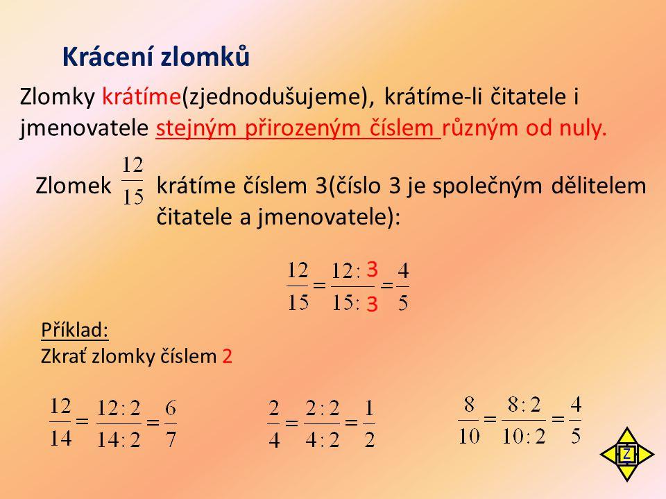 Krácení zlomků Zlomky krátíme(zjednodušujeme), krátíme-li čitatele i jmenovatele stejným přirozeným číslem různým od nuly.