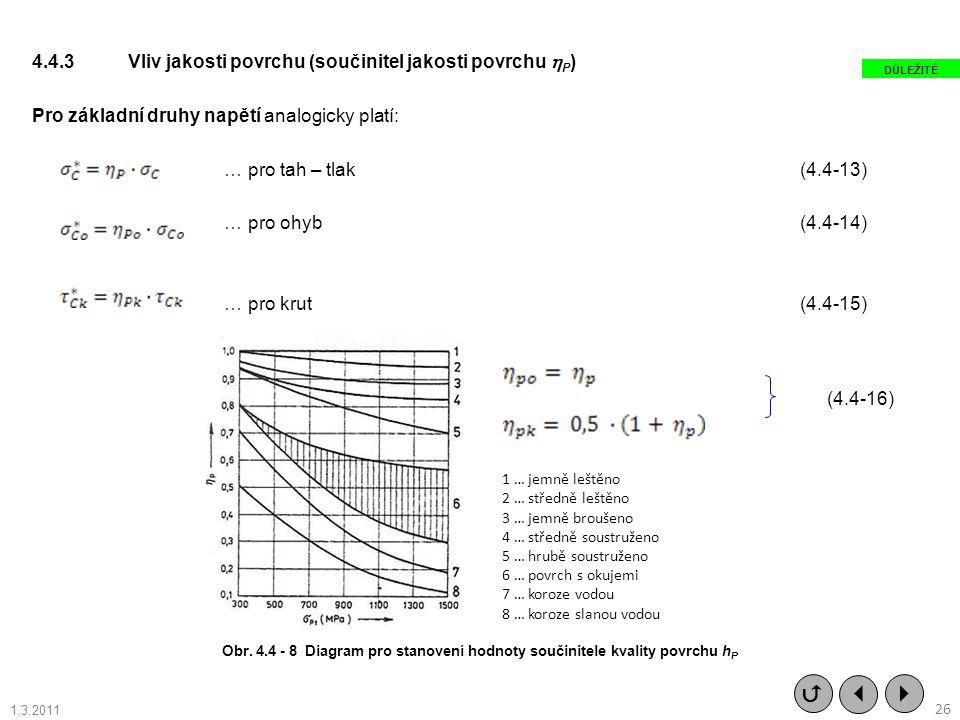 4.4.3 Vliv jakosti povrchu (součinitel jakosti povrchu P) Pro základní druhy napětí analogicky platí: … pro tah – tlak (4.4-13) … pro ohyb (4.4-14) … pro krut (4.4-15)