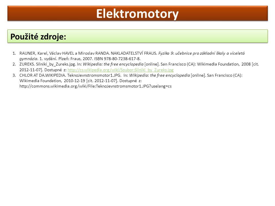 Elektromotory Použité zdroje:
