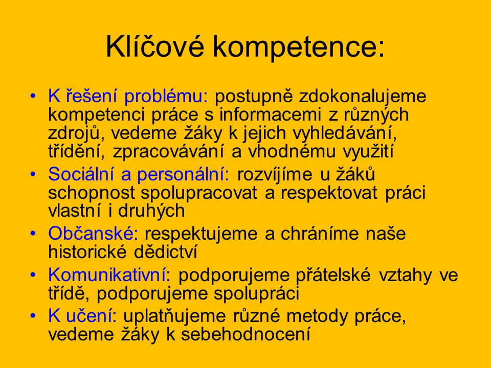 Klíčové kompetence: