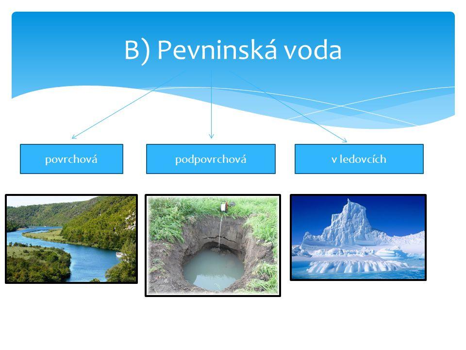 B) Pevninská voda povrchová podpovrchová v ledovcích