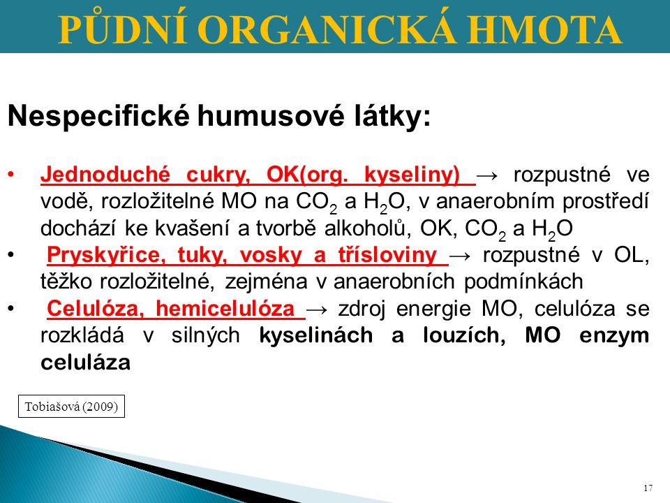 PŮDNÍ ORGANICKÁ HMOTA Nespecifické humusové látky: