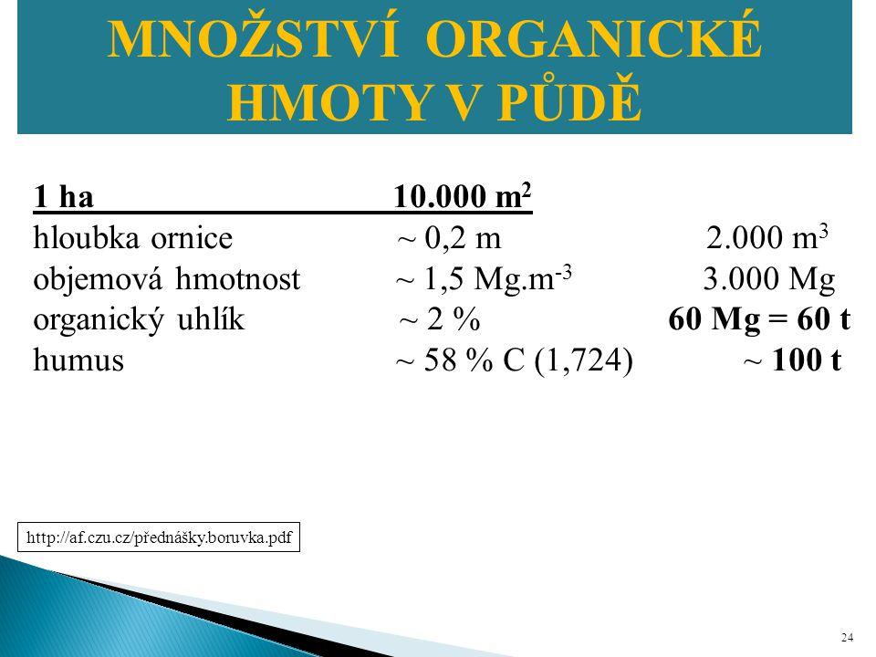 MNOŽSTVÍ ORGANICKÉ HMOTY V PŮDĚ Množství organické hmoty v půdě