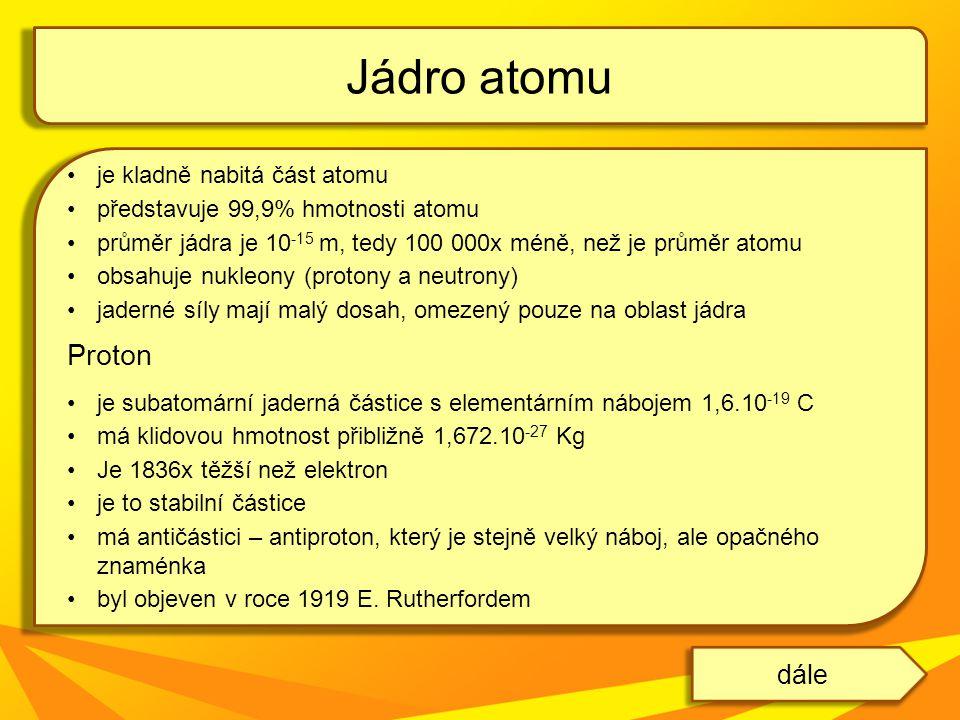 Jádro atomu Proton dále je kladně nabitá část atomu