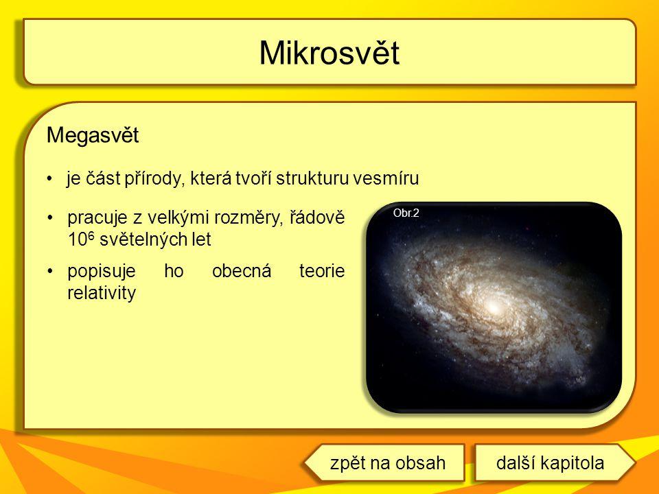 Mikrosvět Megasvět je část přírody, která tvoří strukturu vesmíru