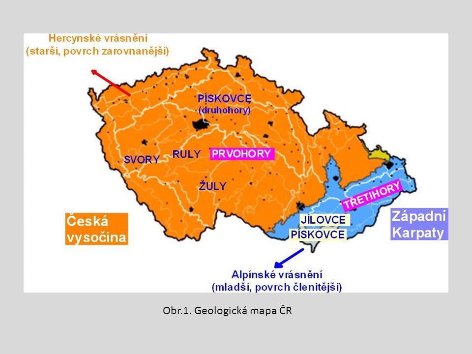 Obr.1. Geologická mapa ČR