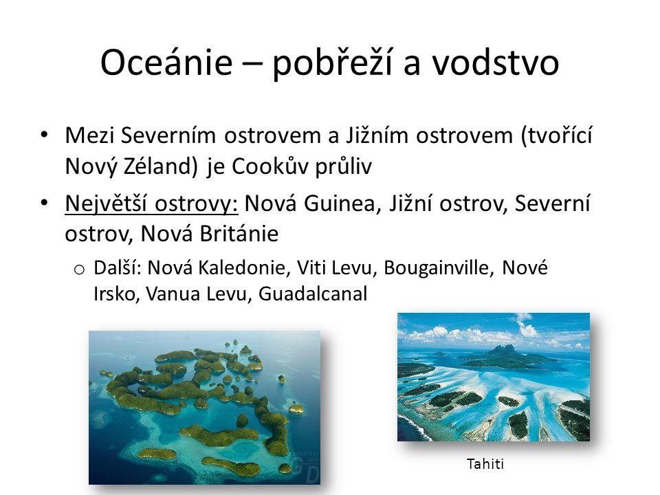Oceánie – pobřeží a vodstvo