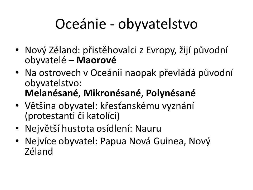 Oceánie - obyvatelstvo