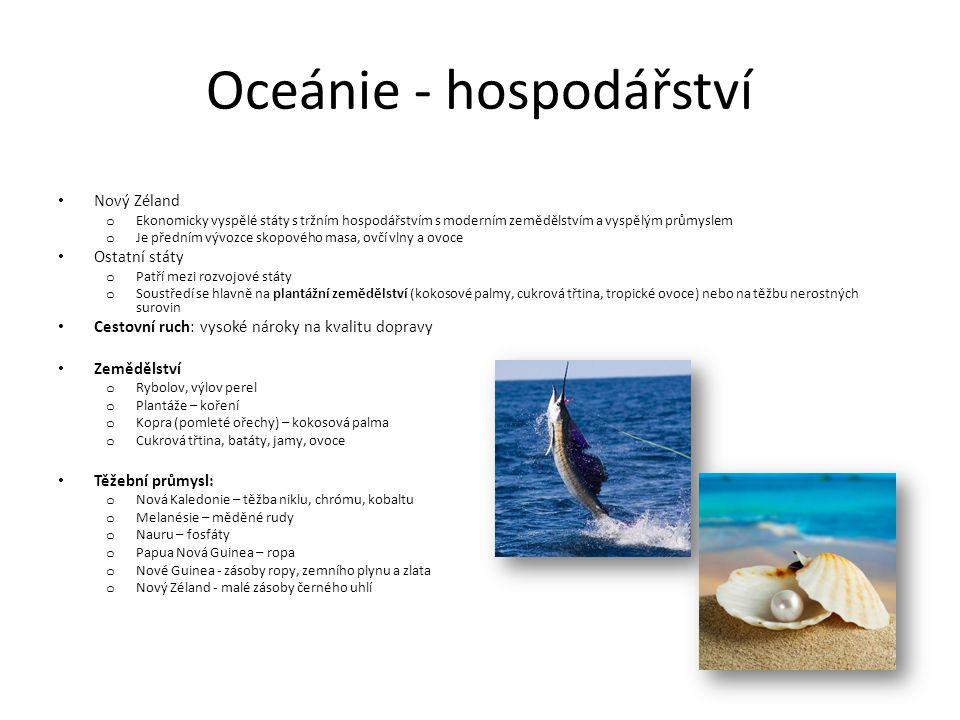 Oceánie - hospodářství
