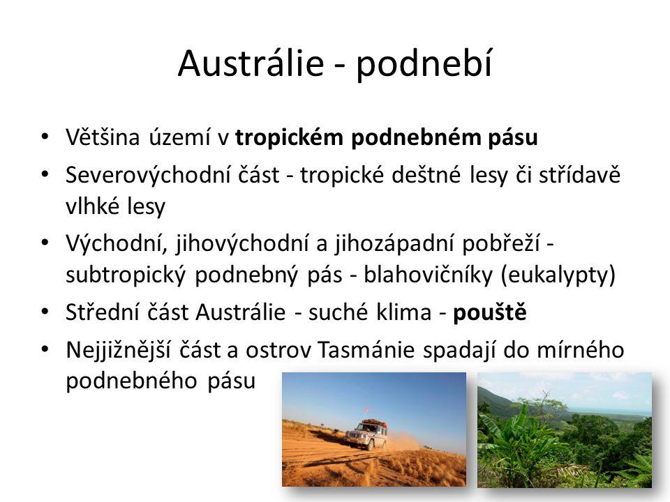 Austrálie - podnebí Většina území v tropickém podnebném pásu