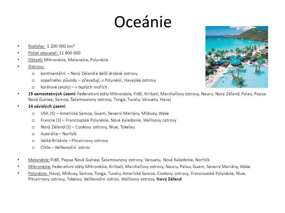 Oceánie Rozloha: 1 200 000 km² Počet obyvatel: 11 800 000