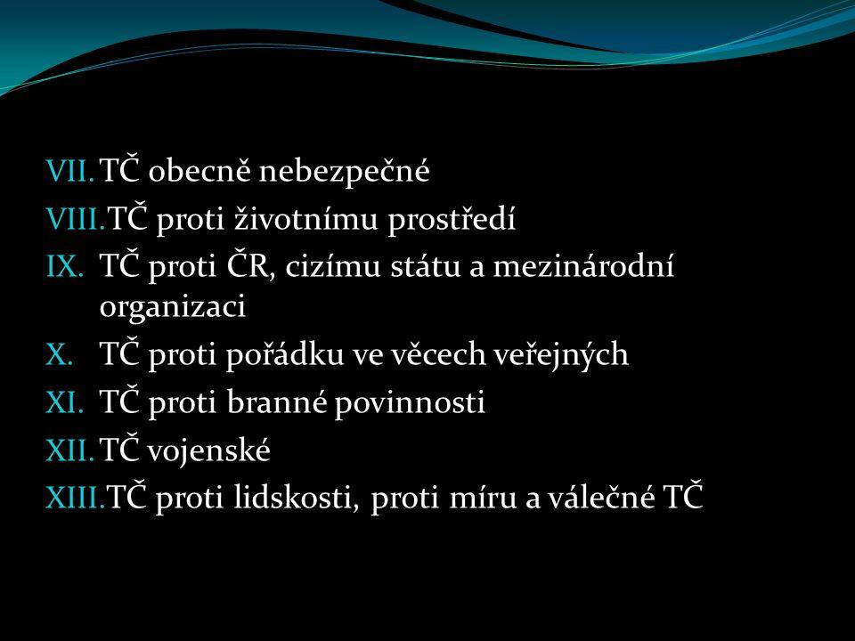 TČ obecně nebezpečné TČ proti životnímu prostředí. TČ proti ČR, cizímu státu a mezinárodní organizaci.