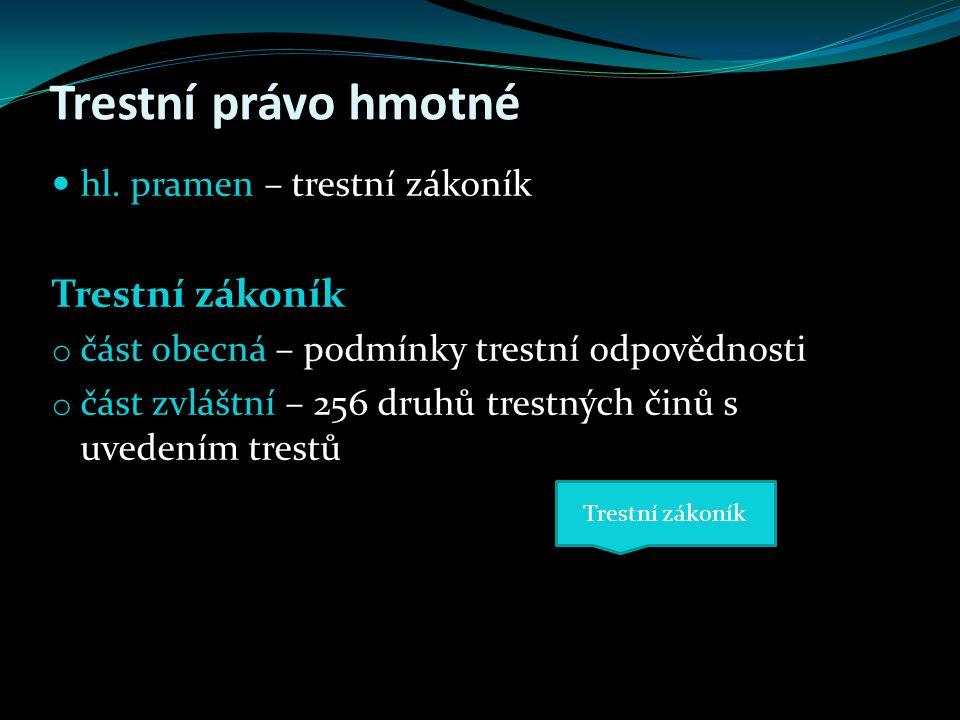 Trestní právo hmotné Trestní zákoník hl. pramen – trestní zákoník