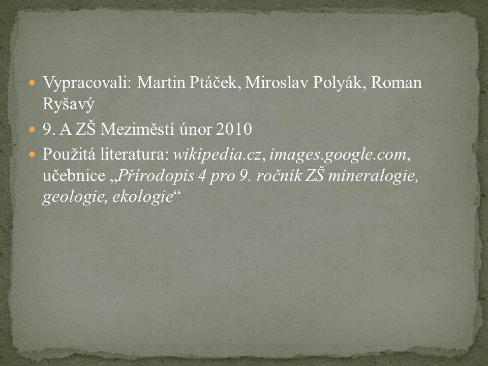 Vypracovali: Martin Ptáček, Miroslav Polyák, Roman Ryšavý