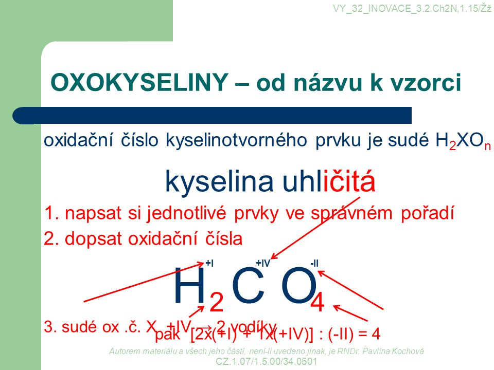 OXOKYSELINY – od názvu k vzorci