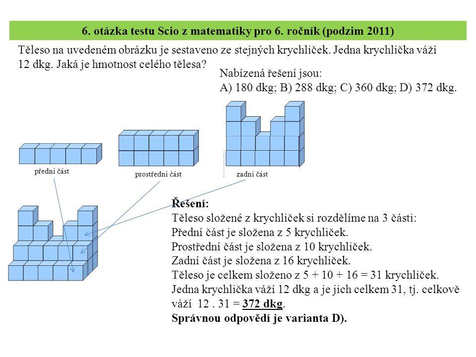6. otázka testu Scio z matematiky pro 6. ročník (podzim 2011)