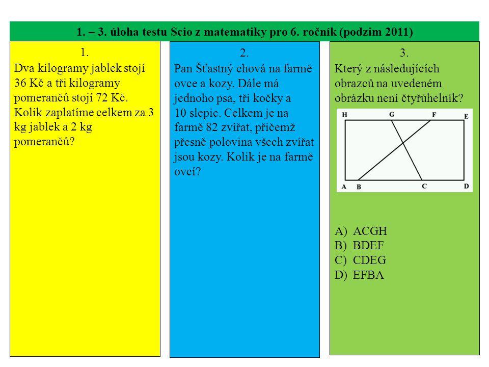 1. – 3. úloha testu Scio z matematiky pro 6. ročník (podzim 2011)