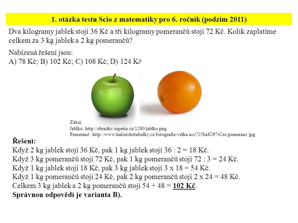 1. otázka testu Scio z matematiky pro 6. ročník (podzim 2011)