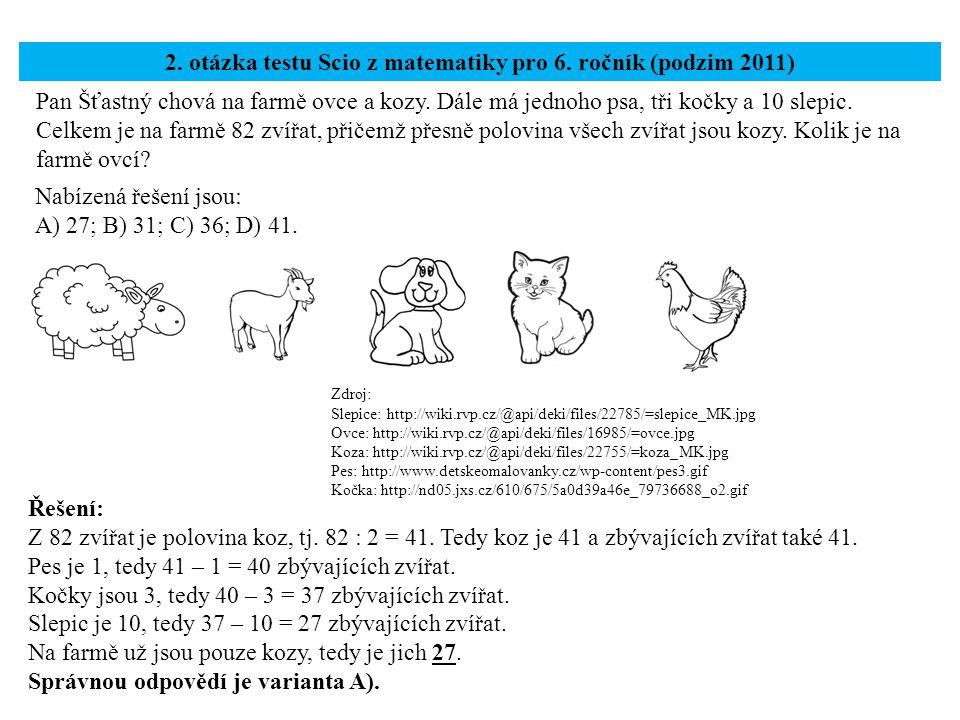2. otázka testu Scio z matematiky pro 6. ročník (podzim 2011)