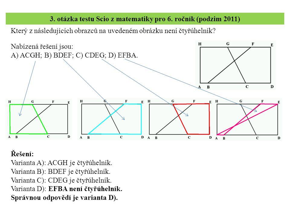 3. otázka testu Scio z matematiky pro 6. ročník (podzim 2011)