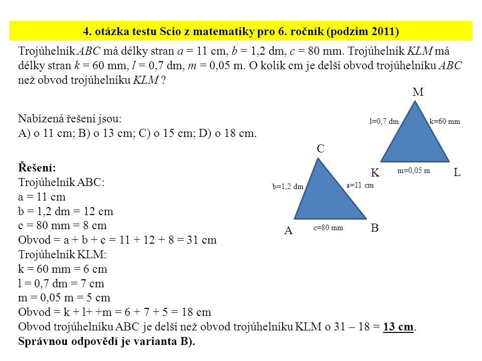 4. otázka testu Scio z matematiky pro 6. ročník (podzim 2011)
