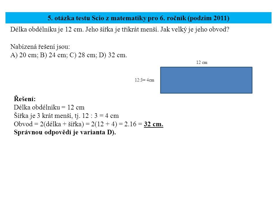 5. otázka testu Scio z matematiky pro 6. ročník (podzim 2011)