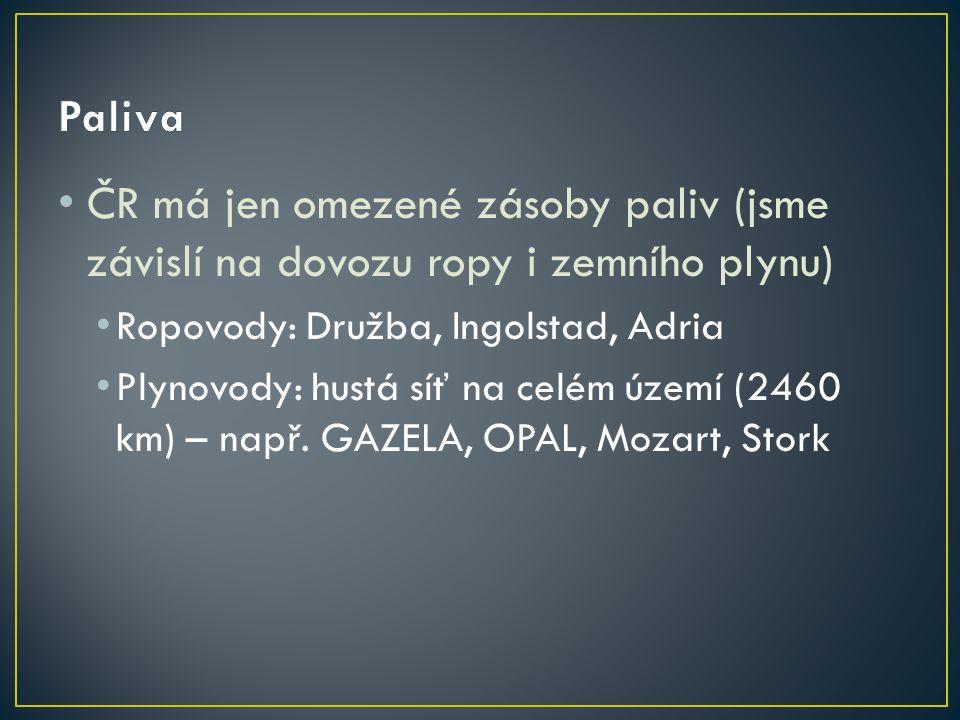 Paliva ČR má jen omezené zásoby paliv (jsme závislí na dovozu ropy i zemního plynu) Ropovody: Družba, Ingolstad, Adria.