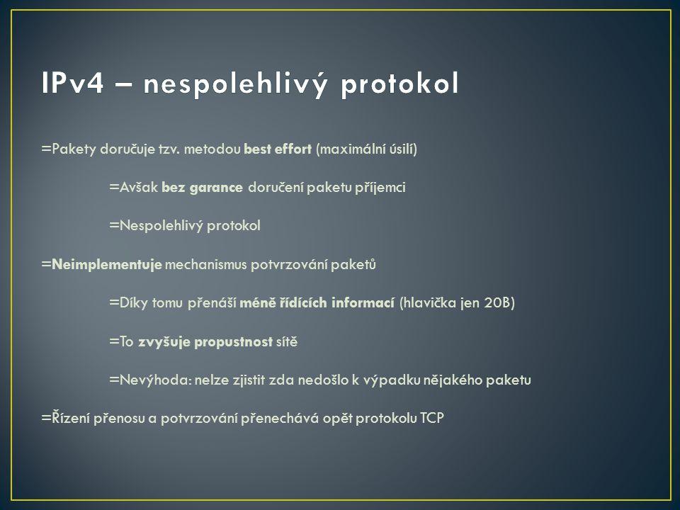 IPv4 – nespolehlivý protokol