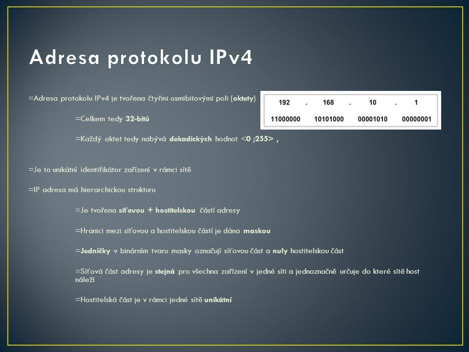 Adresa protokolu IPv4 =Adresa protokolu IPv4 je tvořena čtyřmi osmibitovými poli (oktety) =Celkem tedy 32-bitů.