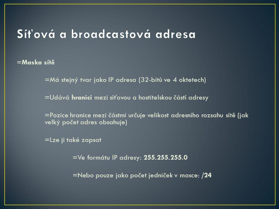 Síťová a broadcastová adresa