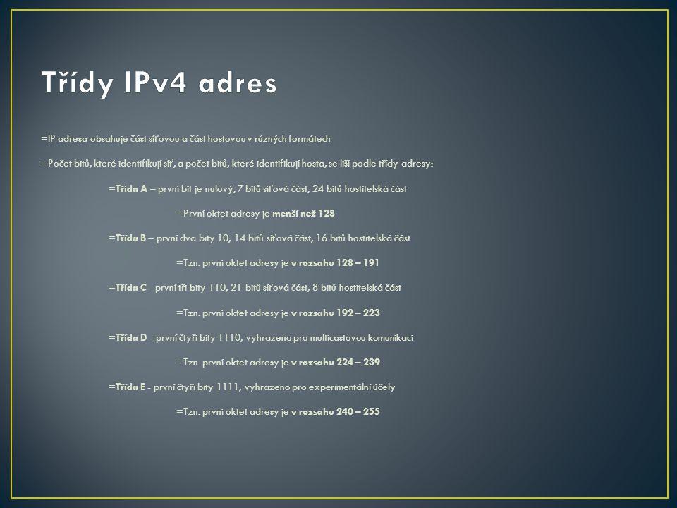 Třídy IPv4 adres =IP adresa obsahuje část síťovou a část hostovou v různých formátech.