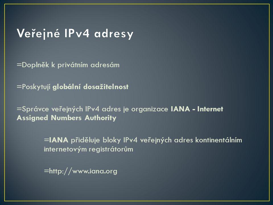 Veřejné IPv4 adresy =Doplněk k privátním adresám