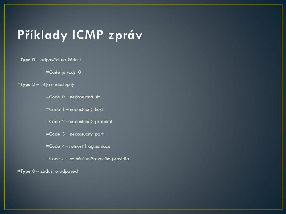 Příklady ICMP zpráv =Type 0 – odpověď na žádost =Code je vždy 0