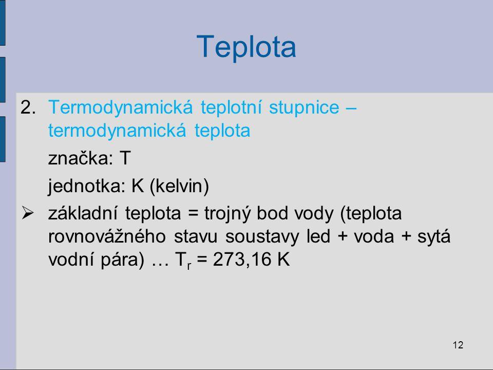 Teplota Termodynamická teplotní stupnice – termodynamická teplota