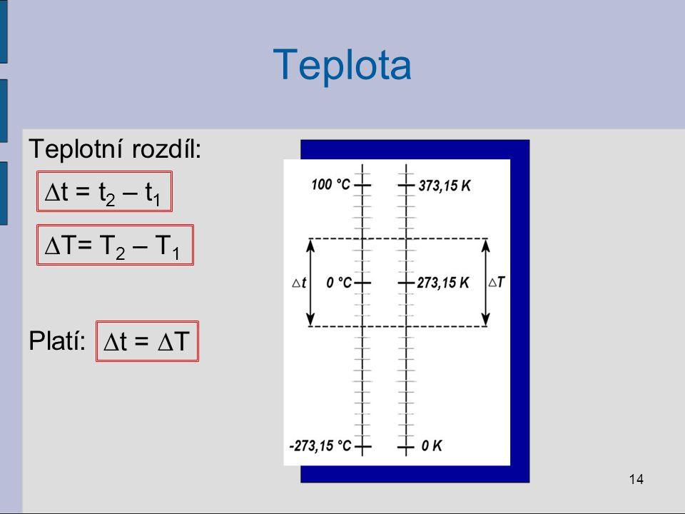Teplota Teplotní rozdíl: Platí: ∆t = t2 – t1 ∆T= T2 – T1 ∆t = ∆T