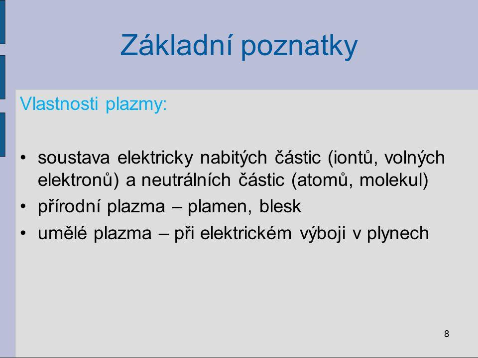 Základní poznatky Vlastnosti plazmy:
