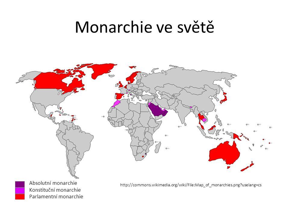 Monarchie ve světě Absolutní monarchie Konstituční monarchie