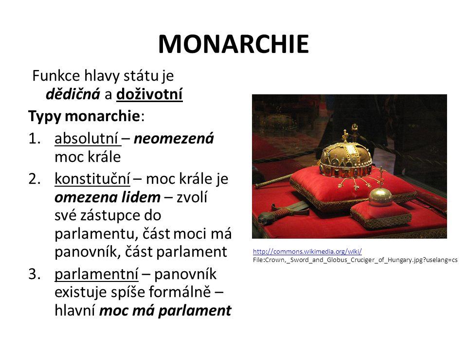 MONARCHIE Funkce hlavy státu je dědičná a doživotní Typy monarchie: