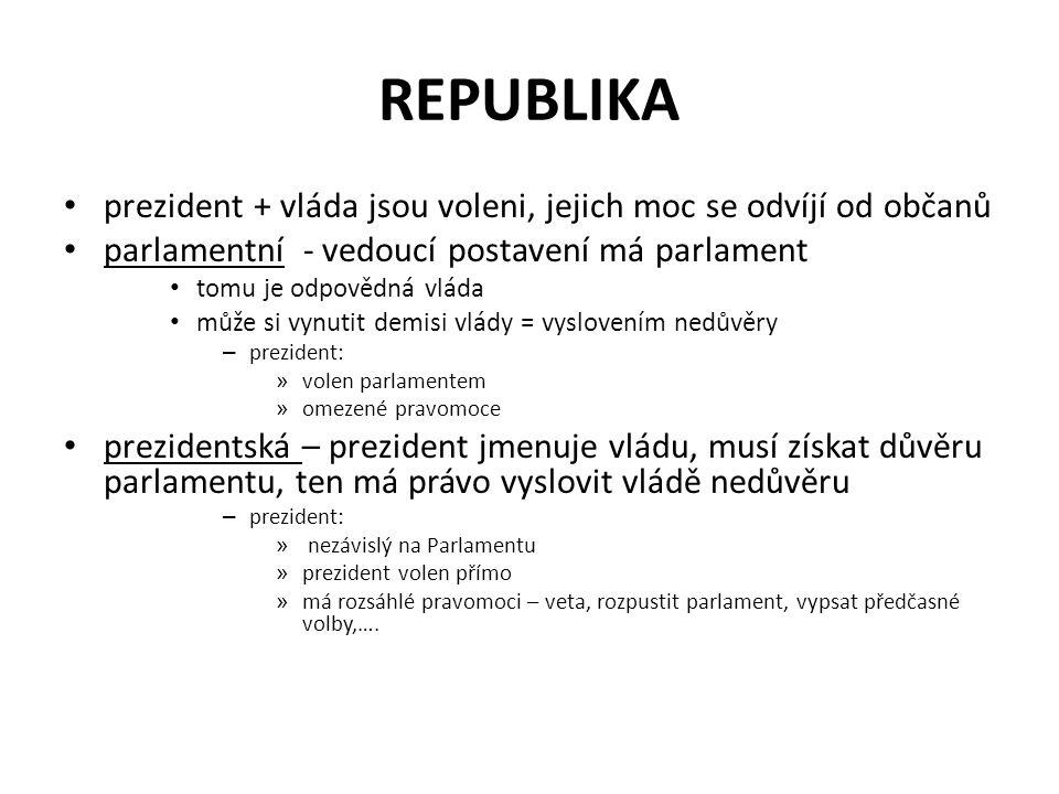 REPUBLIKA prezident + vláda jsou voleni, jejich moc se odvíjí od občanů. parlamentní - vedoucí postavení má parlament.