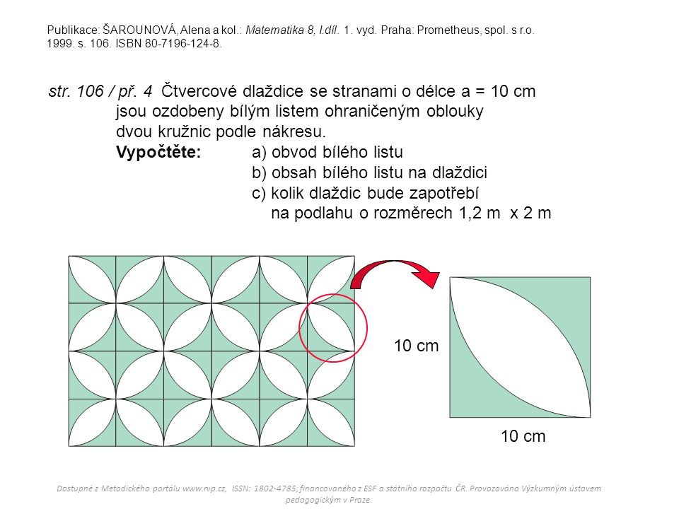 Publikace: ŠAROUNOVÁ, Alena a kol. : Matematika 8, I. díl. 1. vyd